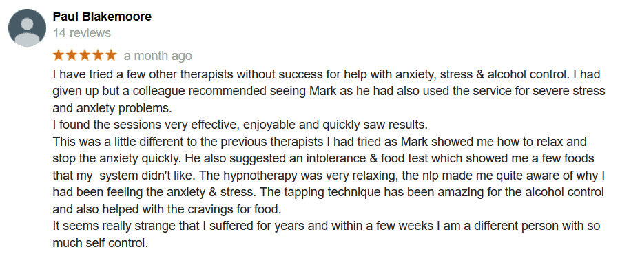 Anxiety stress client feedback