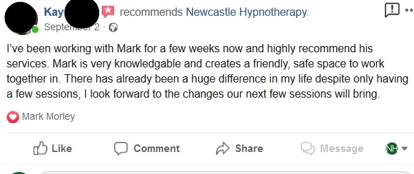 Facebook review anxiety - newcastle hypnotherapy